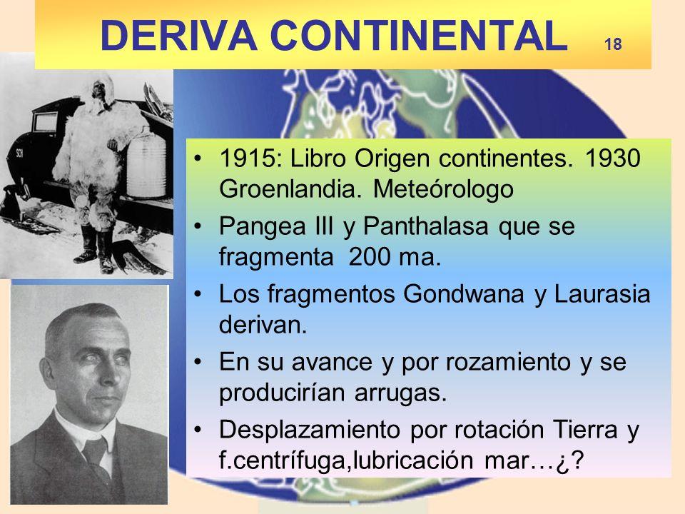 1915: Libro Origen continentes. 1930 Groenlandia. Meteórologo Pangea III y Panthalasa que se fragmenta 200 ma. Los fragmentos Gondwana y Laurasia deri