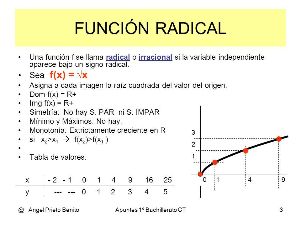 @ Angel Prieto BenitoApuntes 1º Bachillerato CT3 FUNCIÓN RADICAL Una función f se llama radical o irracional si la variable independiente aparece bajo un signo radical.