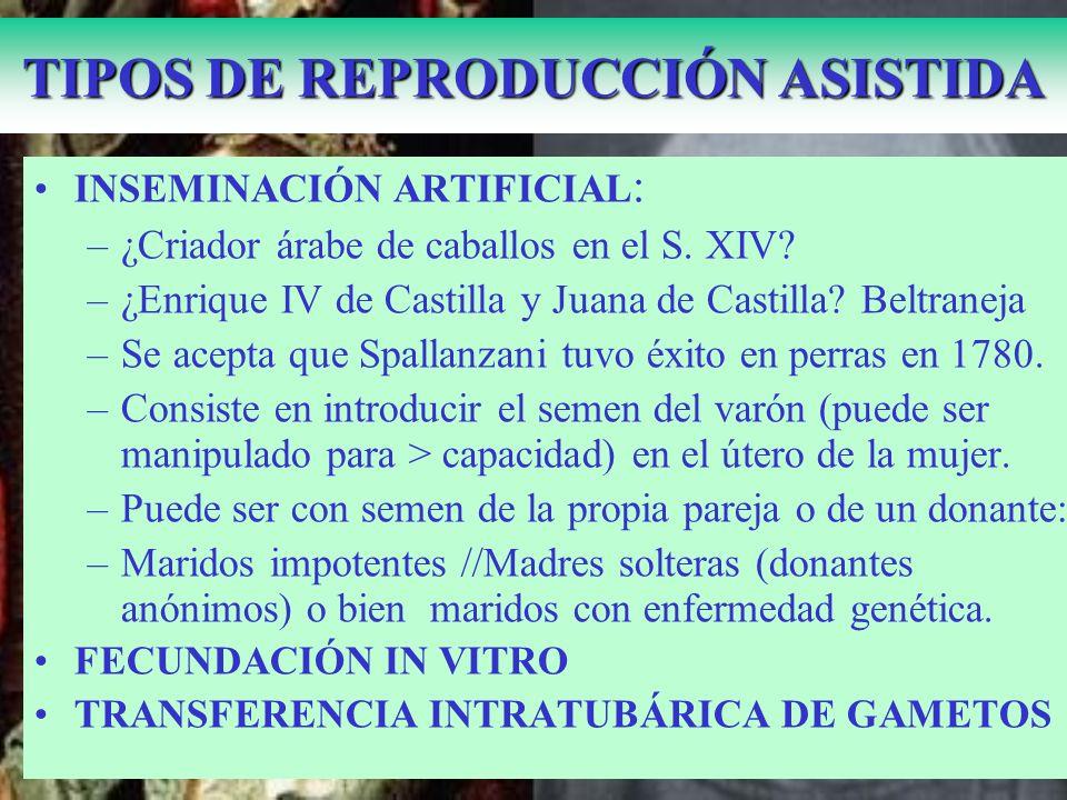 Isabel de Castilla y su sobrina Juana la Beltraneja TIPOS DE REPRODUCCIÓN ASISTIDA INSEMINACIÓN ARTIFICIAL : –¿Criador árabe de caballos en el S. XIV?