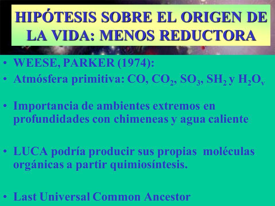 WEESE, PARKER (1974): Atmósfera primitiva: CO, CO 2, SO 3, SH 2 y H 2 O v Importancia de ambientes extremos en profundidades con chimeneas y agua cali