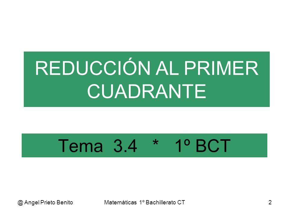 @ Angel Prieto BenitoMatemáticas 1º Bachillerato CT3 REDUCCIÓN AL 1º CUADRANTE Reducir un ángulo, β, al 1º Cuad.