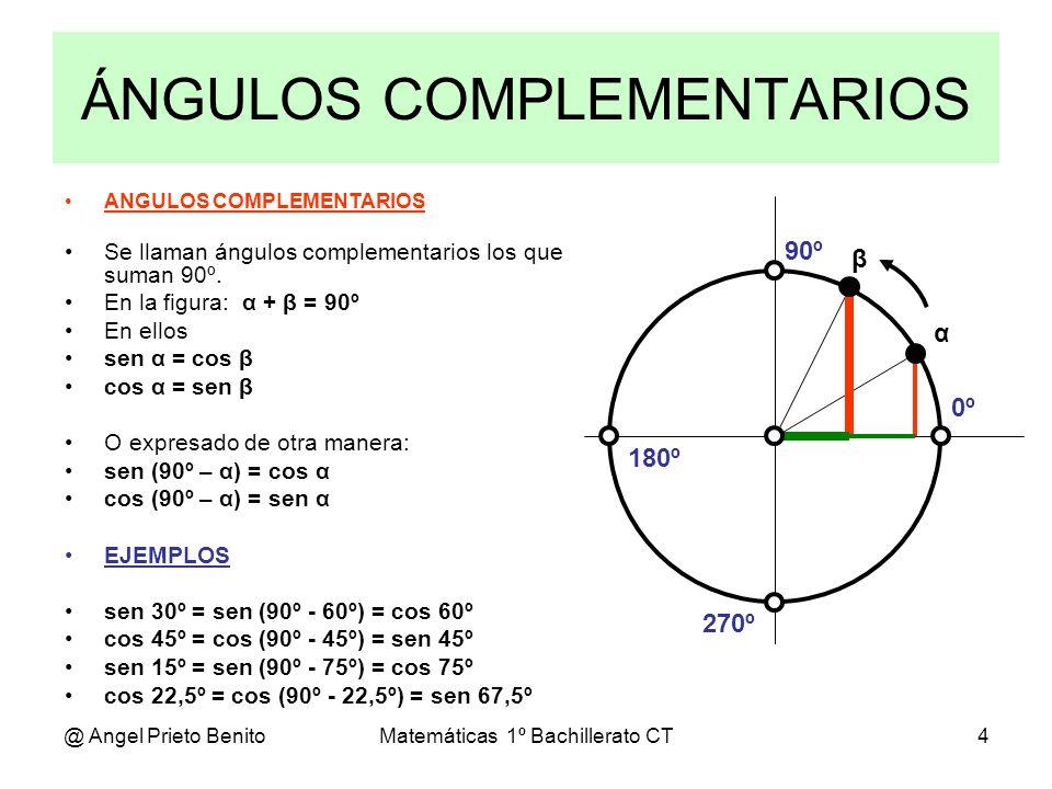 @ Angel Prieto BenitoMatemáticas 1º Bachillerato CT4 ANGULOS COMPLEMENTARIOS Se llaman ángulos complementarios los que suman 90º. En la figura: α + β