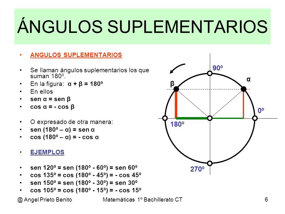 @ Angel Prieto BenitoMatemáticas 1º Bachillerato CT6 ÁNGULOS SUPLEMENTARIOS 0º 270º 180º 90º α β ANGULOS SUPLEMENTARIOS Se llaman ángulos suplementari