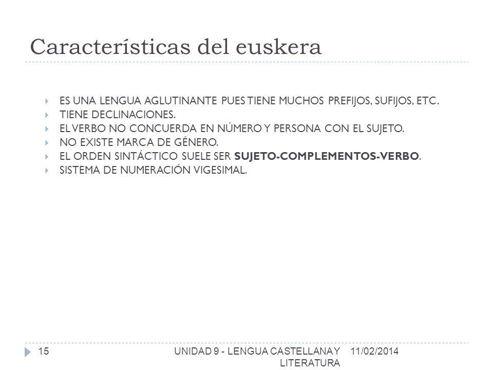 Características del euskera ES UNA LENGUA AGLUTINANTE PUES TIENE MUCHOS PREFIJOS, SUFIJOS, ETC.