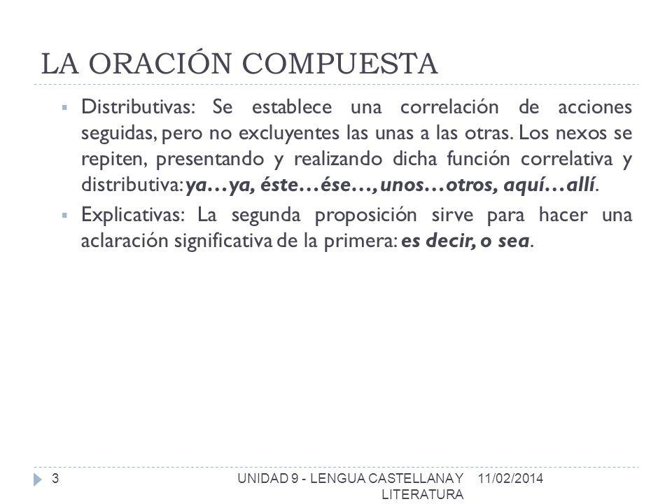 LA ORACIÓN COMPUESTA 11/02/2014UNIDAD 9 - LENGUA CASTELLANA Y LITERATURA 4 PROPOSICIONES SUBORDINADAS Una proposición subordinada no es independiente, sino que depende de la oración principal.