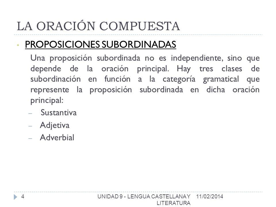 LA ORACIÓN COMPUESTA 11/02/2014UNIDAD 9 - LENGUA CASTELLANA Y LITERATURA 5 1.