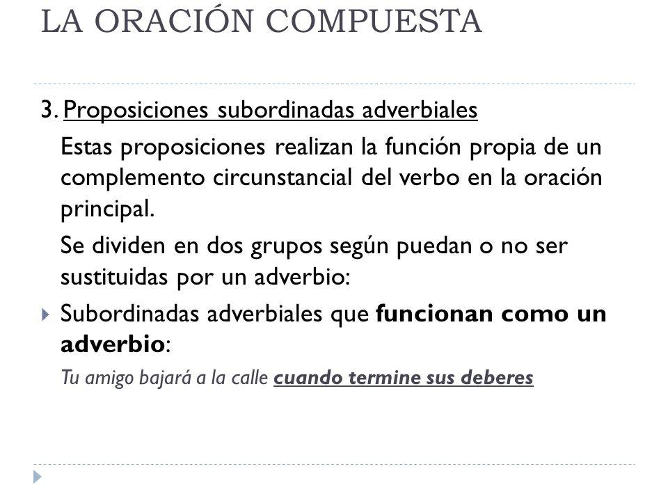 LA ORACIÓN COMPUESTA CLASES: LUGAR: donde.