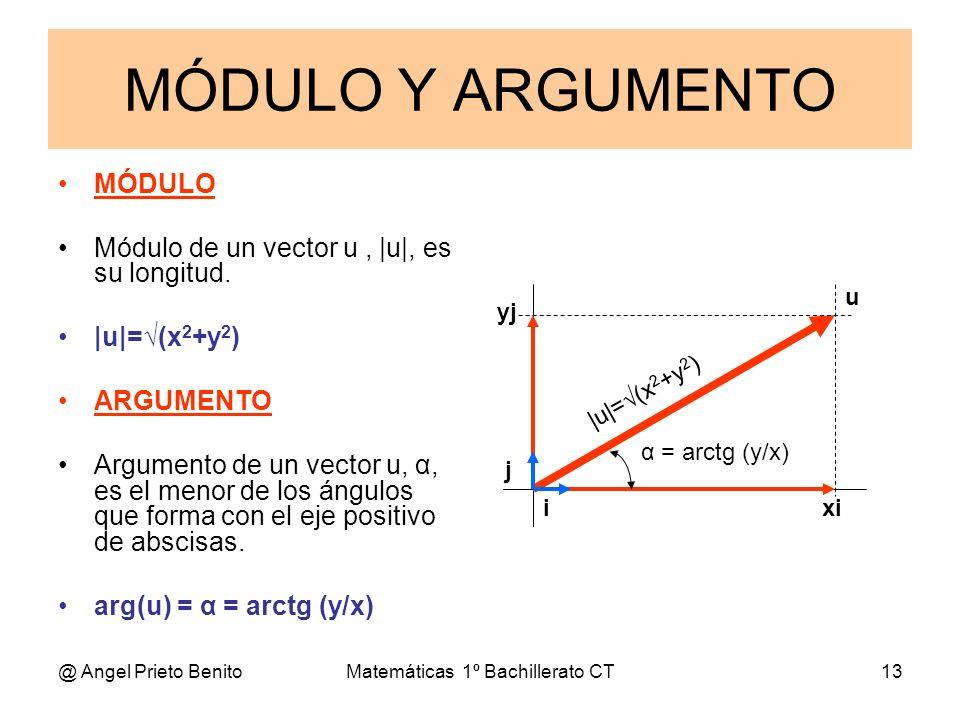 @ Angel Prieto BenitoMatemáticas 1º Bachillerato CT13 MÓDULO Y ARGUMENTO MÓDULO Módulo de un vector u, |u|, es su longitud. |u|=(x 2 +y 2 ) ARGUMENTO