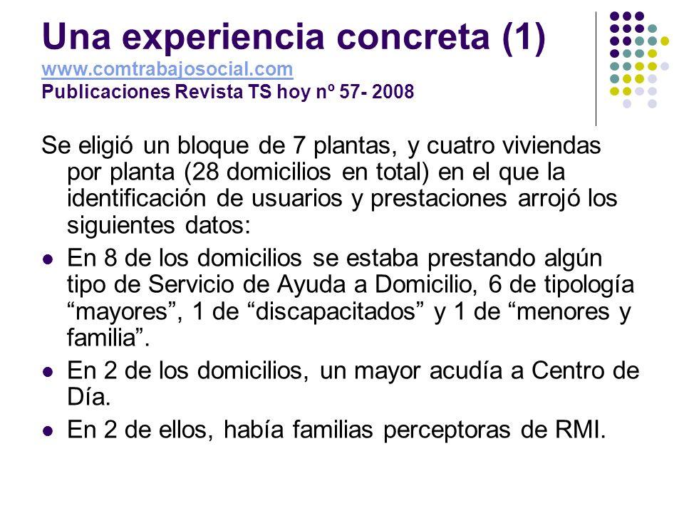Una experiencia concreta (1) www.comtrabajosocial.com Publicaciones Revista TS hoy nº 57- 2008 www.comtrabajosocial.com Se eligió un bloque de 7 plant
