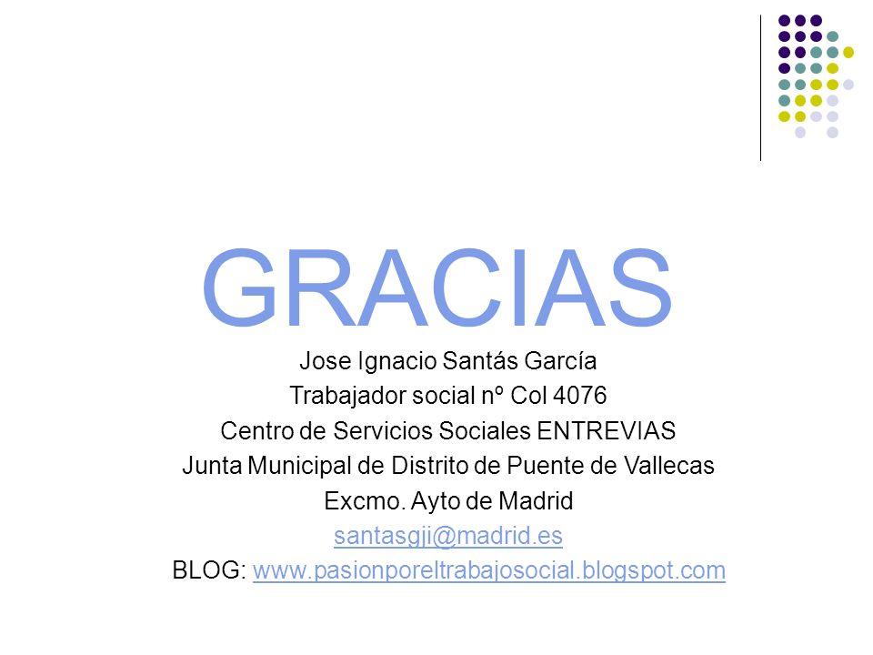 GRACIAS Jose Ignacio Santás García Trabajador social nº Col 4076 Centro de Servicios Sociales ENTREVIAS Junta Municipal de Distrito de Puente de Valle
