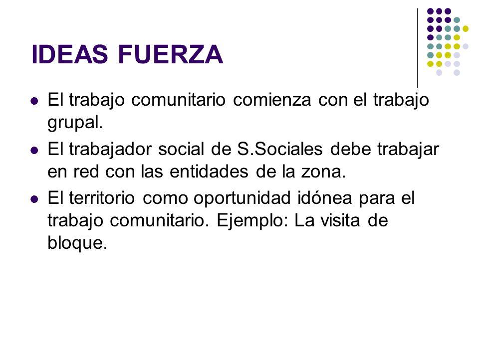 El trabajo comunitario comienza con el trabajo grupal. El trabajador social de S.Sociales debe trabajar en red con las entidades de la zona. El territ