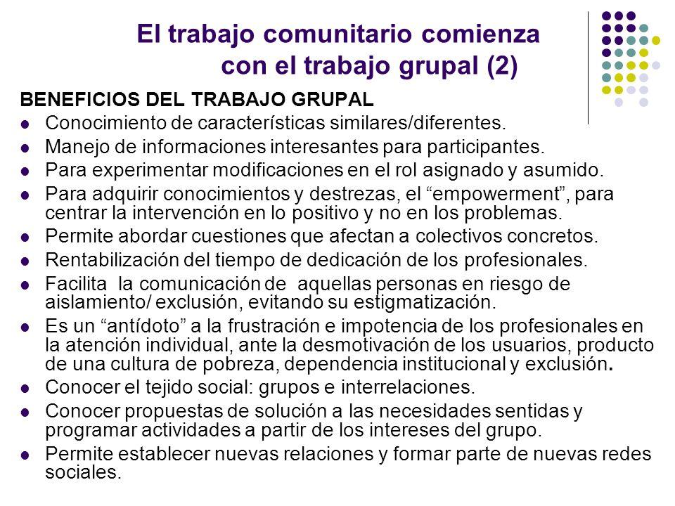 El trabajo comunitario comienza con el trabajo grupal.(3) Ejemplos.