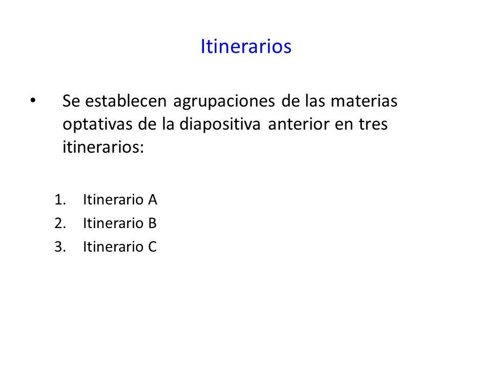 Itinerarios Se establecen agrupaciones de las materias optativas de la diapositiva anterior en tres itinerarios: 1.Itinerario A 2.Itinerario B 3.Itine