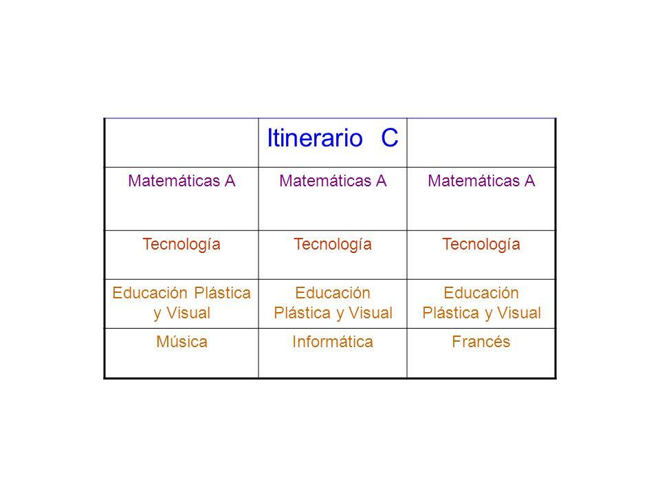 Itinerario C Matemáticas A Tecnología Educación Plástica y Visual MúsicaInformáticaFrancés
