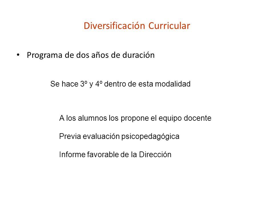 Diversificación Curricular Programa de dos años de duración Se hace 3º y 4º dentro de esta modalidad A los alumnos los propone el equipo docente Previ