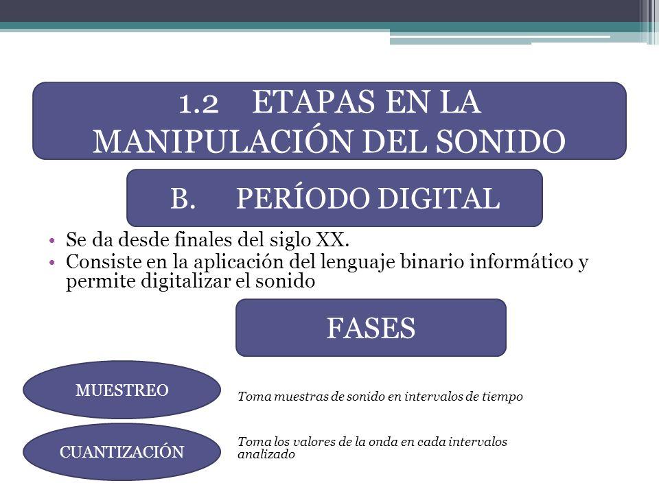 Se da desde finales del siglo XX. Consiste en la aplicación del lenguaje binario informático y permite digitalizar el sonido Toma muestras de sonido e