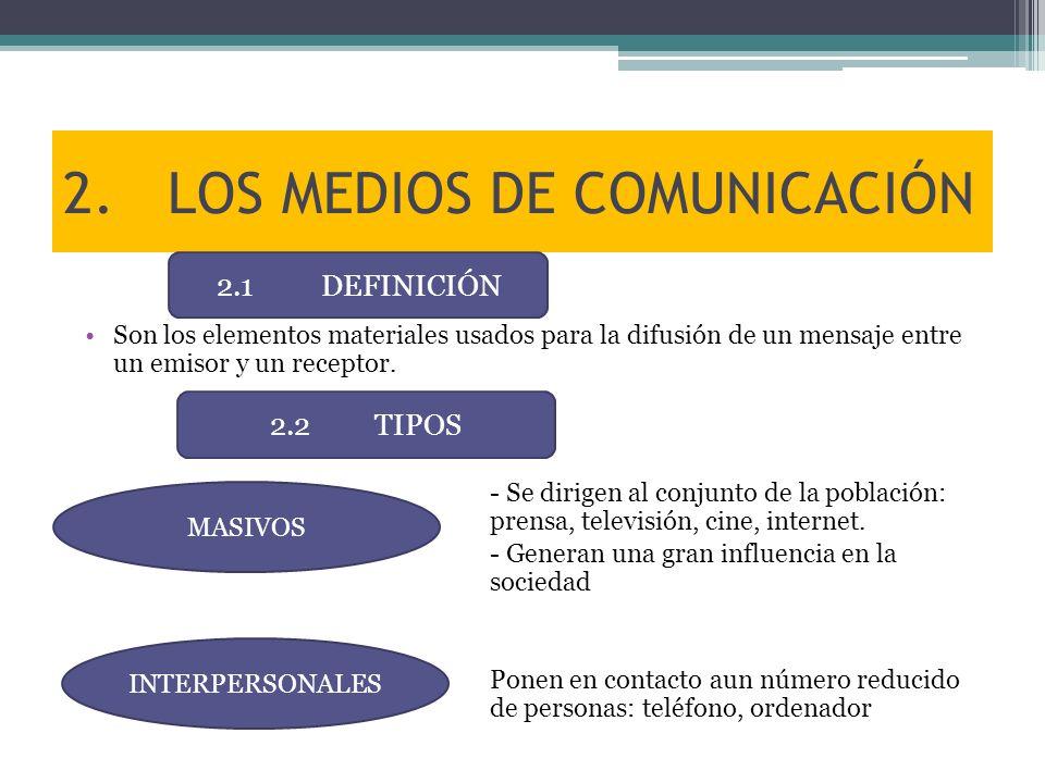 2.LOS MEDIOS DE COMUNICACIÓN Son los elementos materiales usados para la difusión de un mensaje entre un emisor y un receptor. - Se dirigen al conjunt