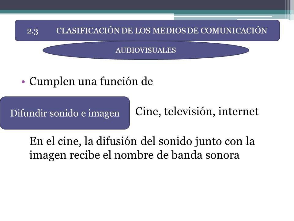 Cumplen una función de Cine, televisión, internet En el cine, la difusión del sonido junto con la imagen recibe el nombre de banda sonora 2.3CLASIFICA