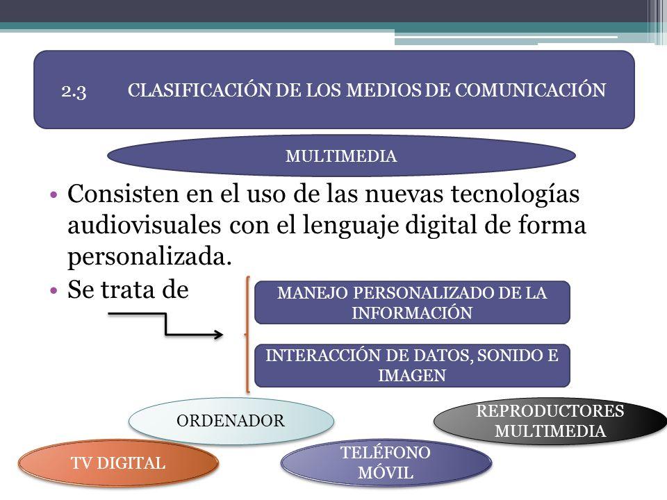 Consisten en el uso de las nuevas tecnologías audiovisuales con el lenguaje digital de forma personalizada. Se trata de 2.3CLASIFICACIÓN DE LOS MEDIOS