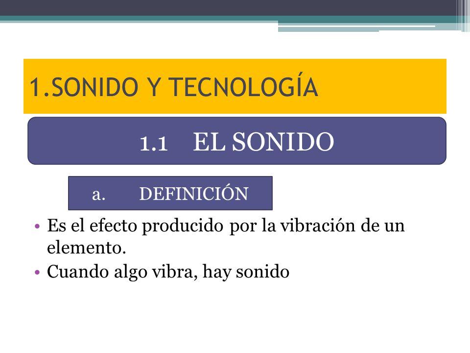 1.SONIDO Y TECNOLOGÍA Es el efecto producido por la vibración de un elemento. Cuando algo vibra, hay sonido 1.1 EL SONIDO a.DEFINICIÓN