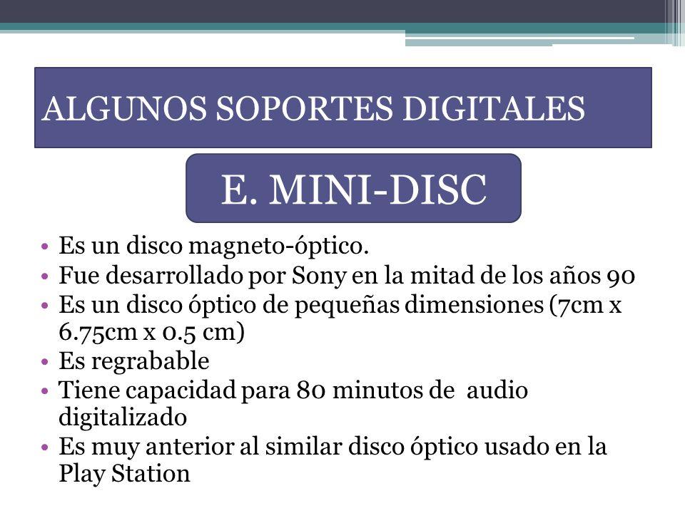 Es un disco magneto-óptico. Fue desarrollado por Sony en la mitad de los años 90 Es un disco óptico de pequeñas dimensiones (7cm x 6.75cm x 0.5 cm) Es