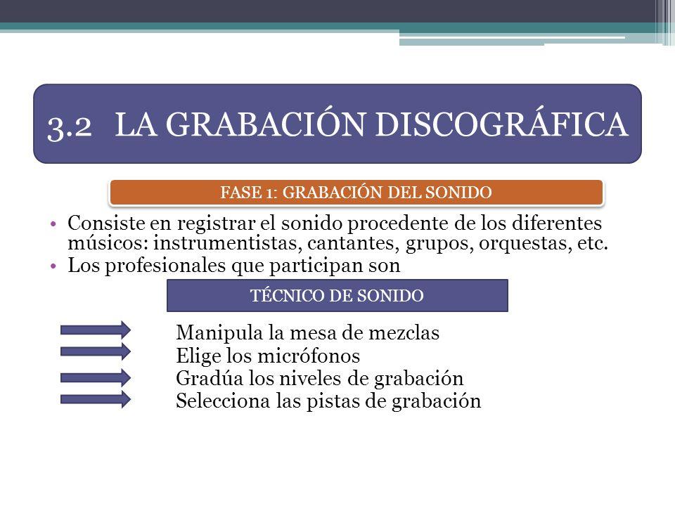 Consiste en registrar el sonido procedente de los diferentes músicos: instrumentistas, cantantes, grupos, orquestas, etc. Los profesionales que partic