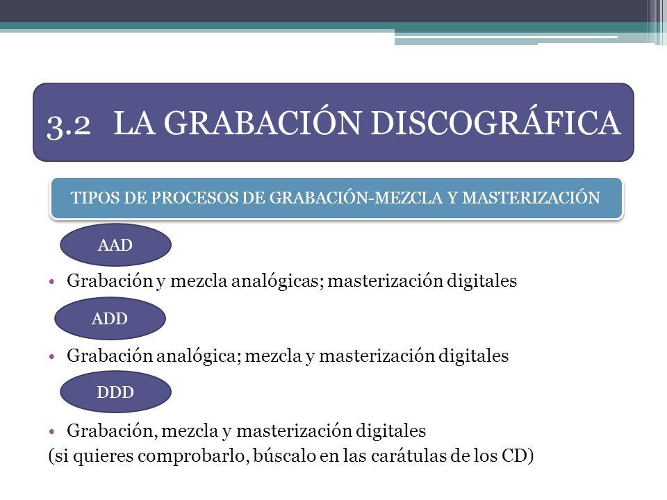Grabación y mezcla analógicas; masterización digitales Grabación analógica; mezcla y masterización digitales Grabación, mezcla y masterización digital