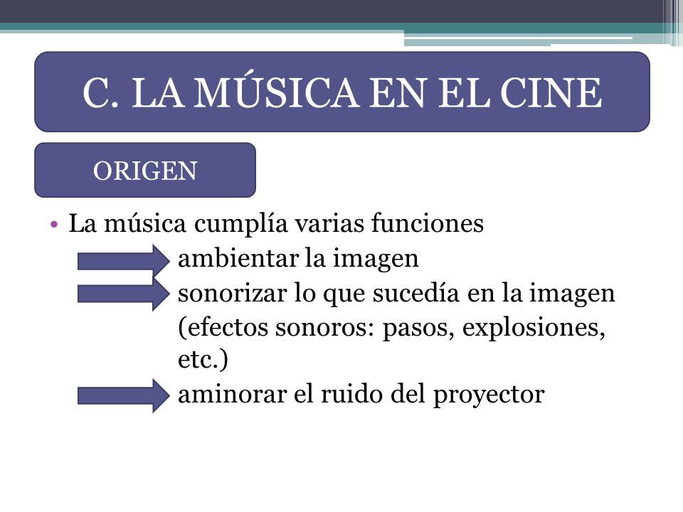 La música cumplía varias funciones ambientar la imagen sonorizar lo que sucedía en la imagen (efectos sonoros: pasos, explosiones, etc.) aminorar el r