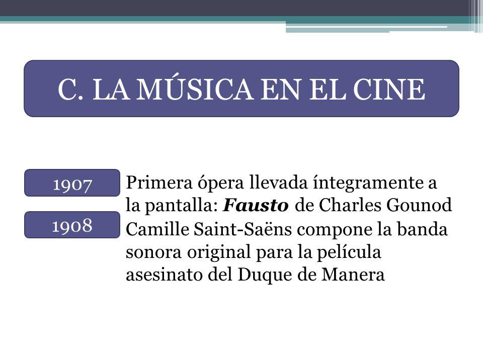 Primera ópera llevada íntegramente a la pantalla: Fausto de Charles Gounod Camille Saint-Saëns compone la banda sonora original para la película asesi