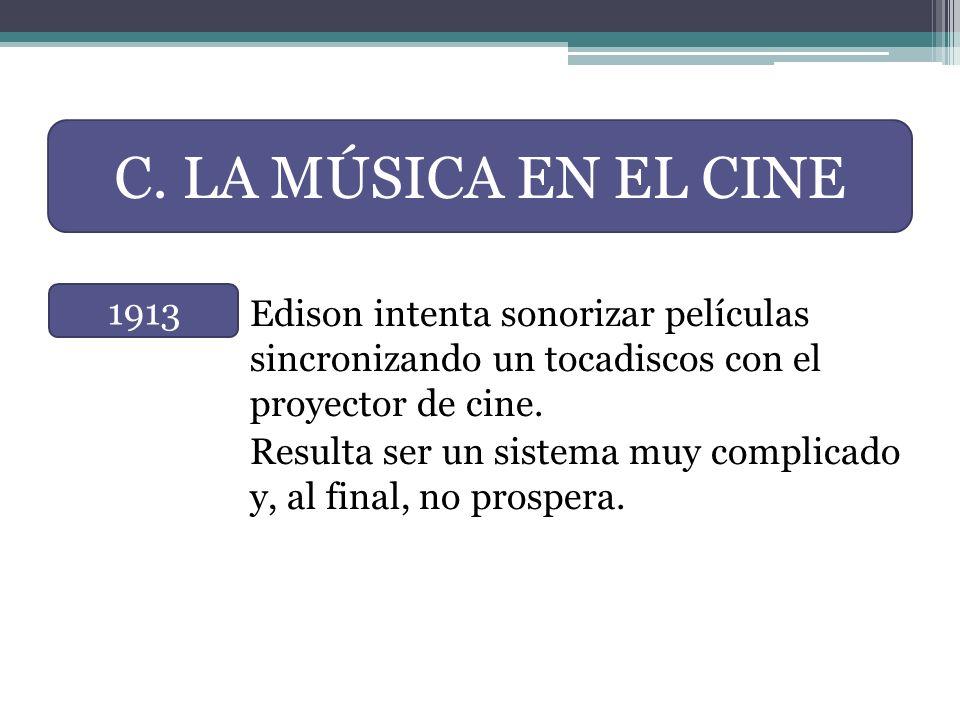 Edison intenta sonorizar películas sincronizando un tocadiscos con el proyector de cine. Resulta ser un sistema muy complicado y, al final, no prosper