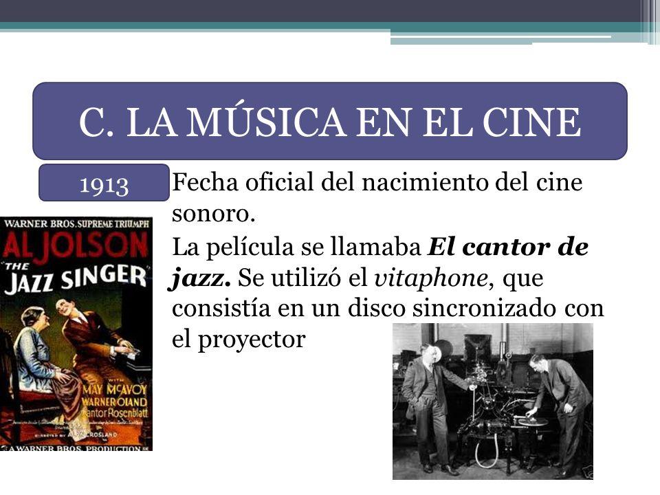 Fecha oficial del nacimiento del cine sonoro. La película se llamaba El cantor de jazz.Se utilizó el vitaphone, que consistía en un disco sincronizado