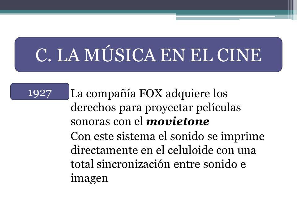 La compañía FOX adquiere los derechos para proyectar películas sonoras con el movietone Con este sistema el sonido se imprime directamente en el celul