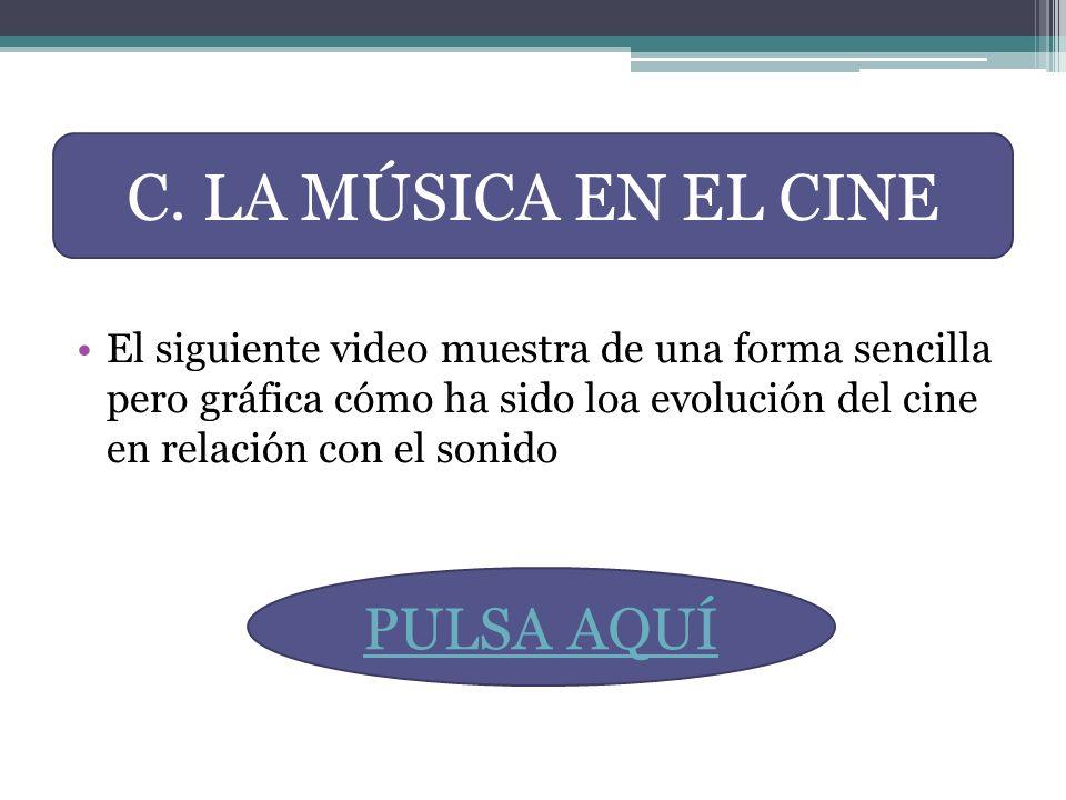 El siguiente video muestra de una forma sencilla pero gráfica cómo ha sido loa evolución del cine en relación con el sonido C. LA MÚSICA EN EL CINE PU