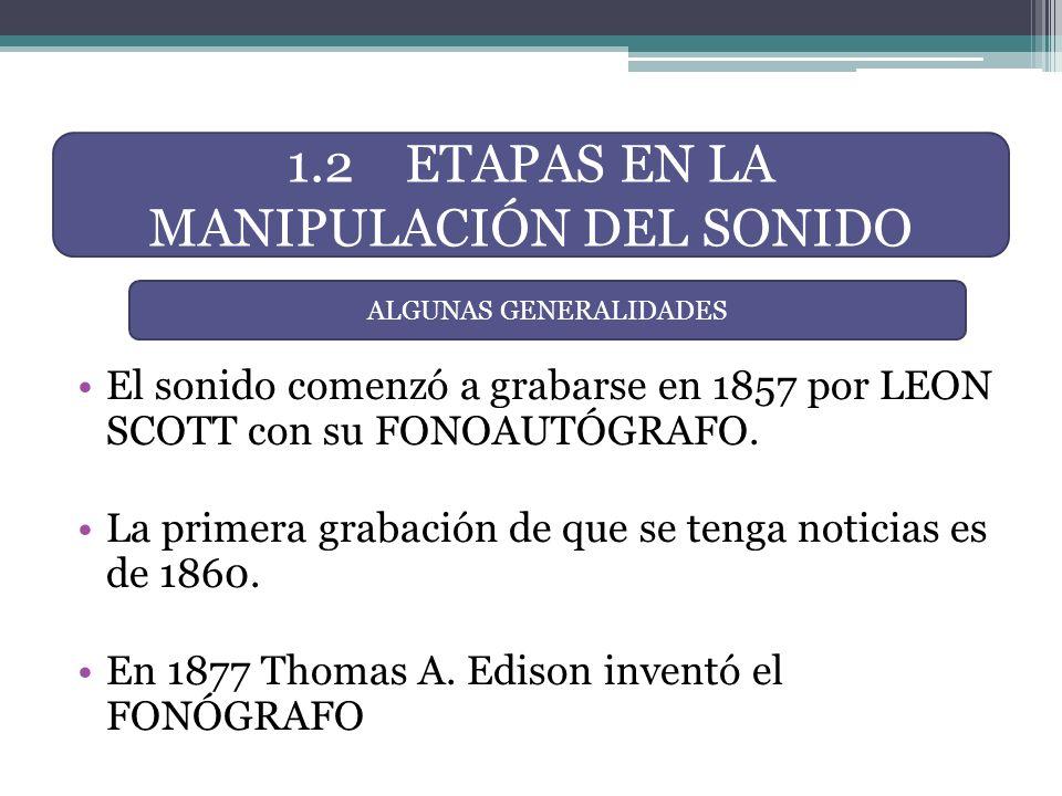 El sonido comenzó a grabarse en 1857 por LEON SCOTT con su FONOAUTÓGRAFO. La primera grabación de que se tenga noticias es de 1860. En 1877 Thomas A.
