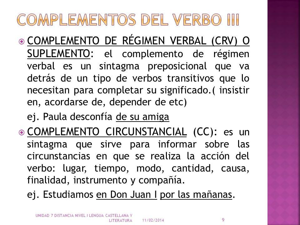 COMPLEMENTO DE RÉGIMEN VERBAL (CRV) O SUPLEMENTO: el complemento de régimen verbal es un sintagma preposicional que va detrás de un tipo de verbos tra