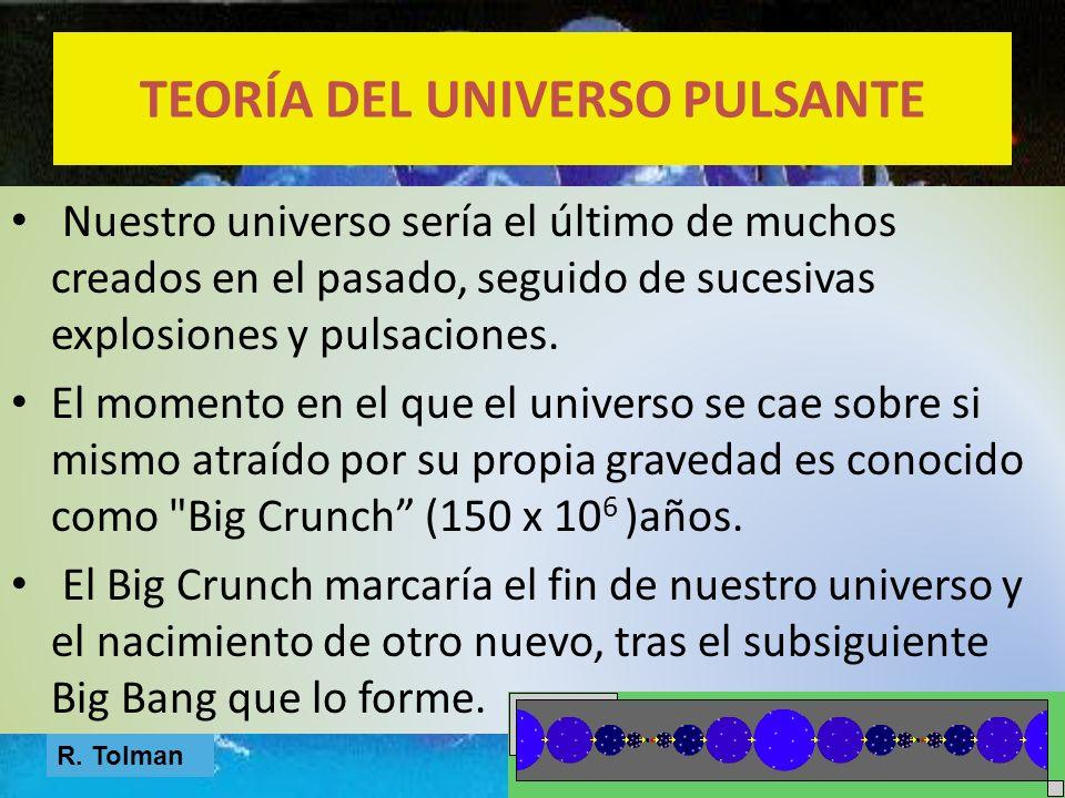 Nuestro universo sería el último de muchos creados en el pasado, seguido de sucesivas explosiones y pulsaciones. El momento en el que el universo se c