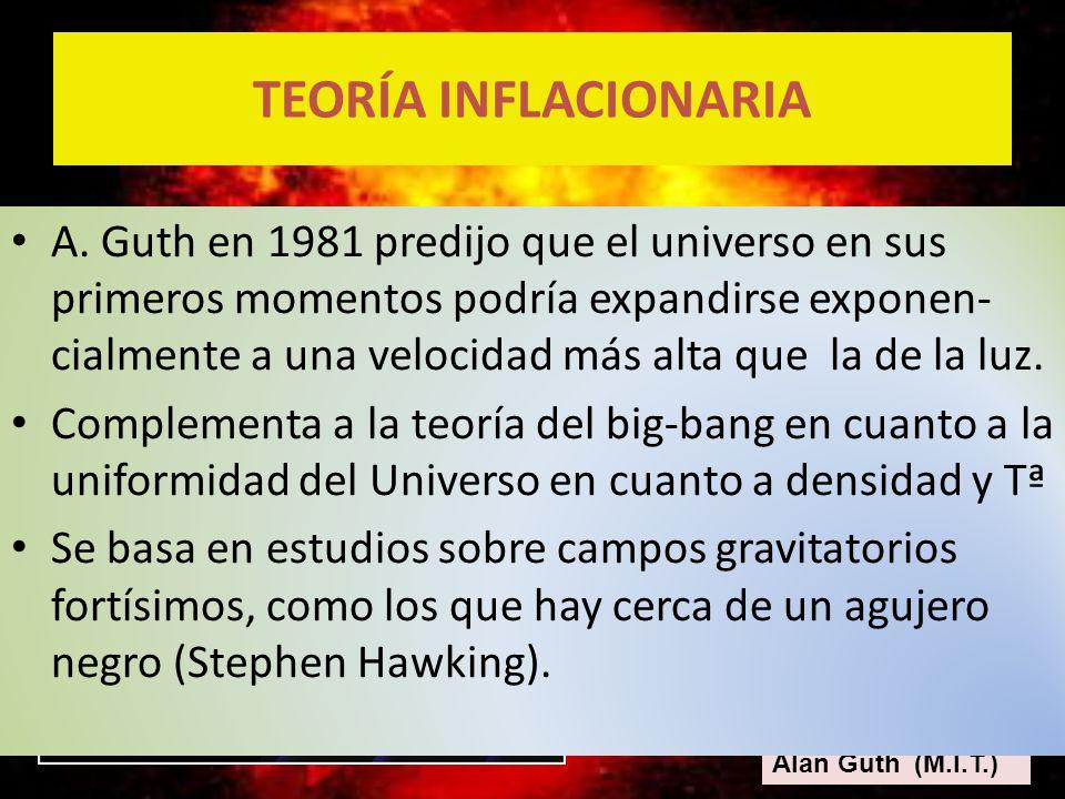 Alan Guth (M.I.T.) A. Guth en 1981 predijo que el universo en sus primeros momentos podría expandirse exponen- cialmente a una velocidad más alta que