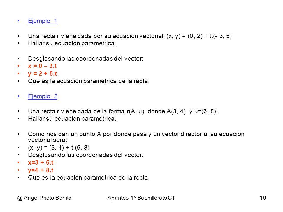 @ Angel Prieto BenitoApuntes 1º Bachillerato CT10 Ejemplo_1 Una recta r viene dada por su ecuación vectorial: (x, y) = (0, 2) + t.(- 3, 5) Hallar su e