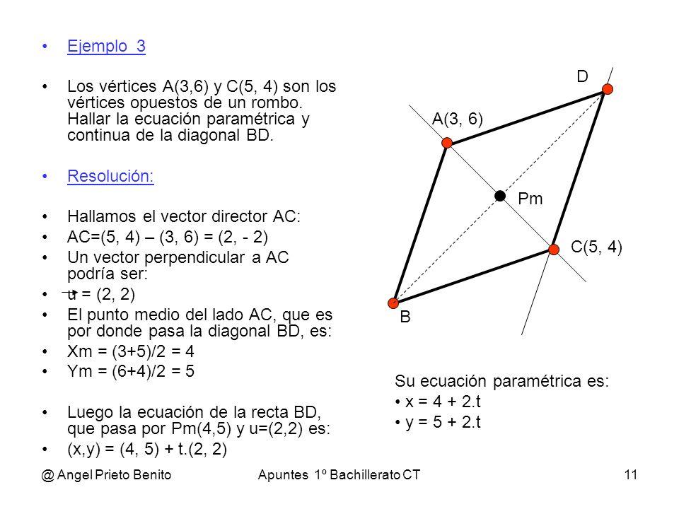 @ Angel Prieto BenitoApuntes 1º Bachillerato CT11 Ejemplo_3 Los vértices A(3,6) y C(5, 4) son los vértices opuestos de un rombo. Hallar la ecuación pa