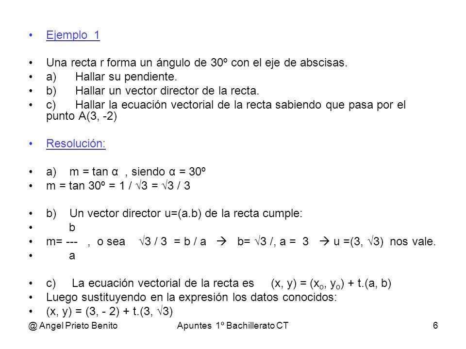 @ Angel Prieto BenitoApuntes 1º Bachillerato CT6 Ejemplo_1 Una recta r forma un ángulo de 30º con el eje de abscisas. a)Hallar su pendiente. b)Hallar