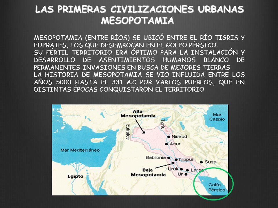 LAS PRIMERAS CIVILIZACIONES URBANAS MESOPOTAMIA MESOPOTAMIA (ENTRE RÍOS) SE UBICÓ ENTRE EL RÍO TIGRIS Y EUFRATES, LOS QUE DESEMBOCAN EN EL GOLFO PÉRSI