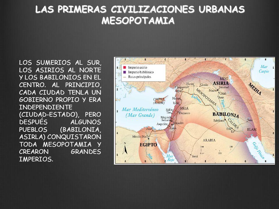LAS PRIMERAS CIVILIZACIONES URBANAS MESOPOTAMIA LOS SUMERIOS AL SUR, LOS ASIRIOS AL NORTE Y LOS BABILONIOS EN EL CENTRO. AL PRINCIPIO, CADA CIUDAD TEN