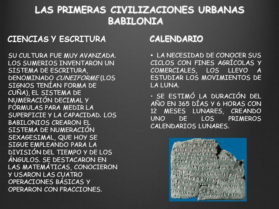 LAS PRIMERAS CIVILIZACIONES URBANAS BABILONIA LA NECESIDAD DE CONOCER SUS CICLOS CON FINES AGRÍCOLAS Y COMERCIALES, LOS LLEVO A ESTUDIAR LOS MOVIMIENT