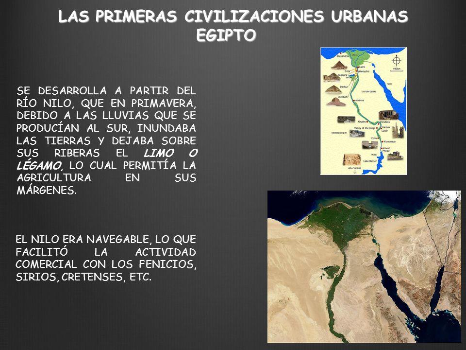 LAS PRIMERAS CIVILIZACIONES URBANAS EGIPTO SE DESARROLLA A PARTIR DEL RÍO NILO, QUE EN PRIMAVERA, DEBIDO A LAS LLUVIAS QUE SE PRODUCÍAN AL SUR, INUNDA