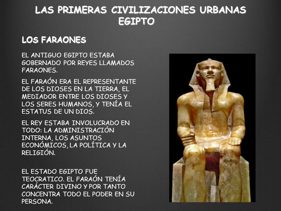 LAS PRIMERAS CIVILIZACIONES URBANAS EGIPTO EL ANTIGUO EGIPTO ESTABA GOBERNADO POR REYES LLAMADOS FARAONES. EL FARAÓN ERA EL REPRESENTANTE DE LOS DIOSE