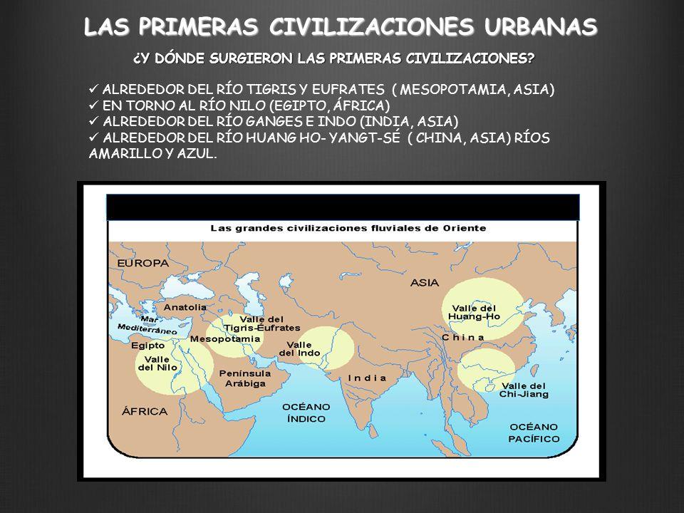 ¿Y DÓNDE SURGIERON LAS PRIMERAS CIVILIZACIONES? ALREDEDOR DEL RÍO TIGRIS Y EUFRATES ( MESOPOTAMIA, ASIA) EN TORNO AL RÍO NILO (EGIPTO, ÁFRICA) ALREDED