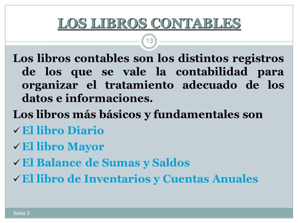 LOS LIBROS CONTABLES Tema 3 13 Los libros contables son los distintos registros de los que se vale la contabilidad para organizar el tratamiento adecu