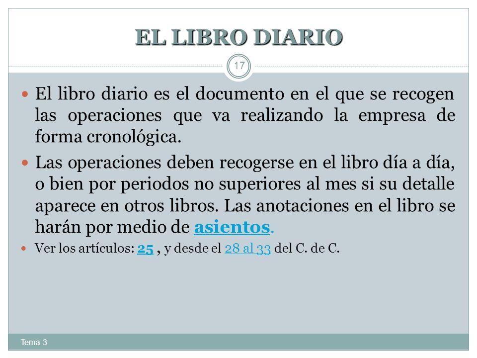 EL LIBRO DIARIO Tema 3 17 El libro diario es el documento en el que se recogen las operaciones que va realizando la empresa de forma cronológica. Las
