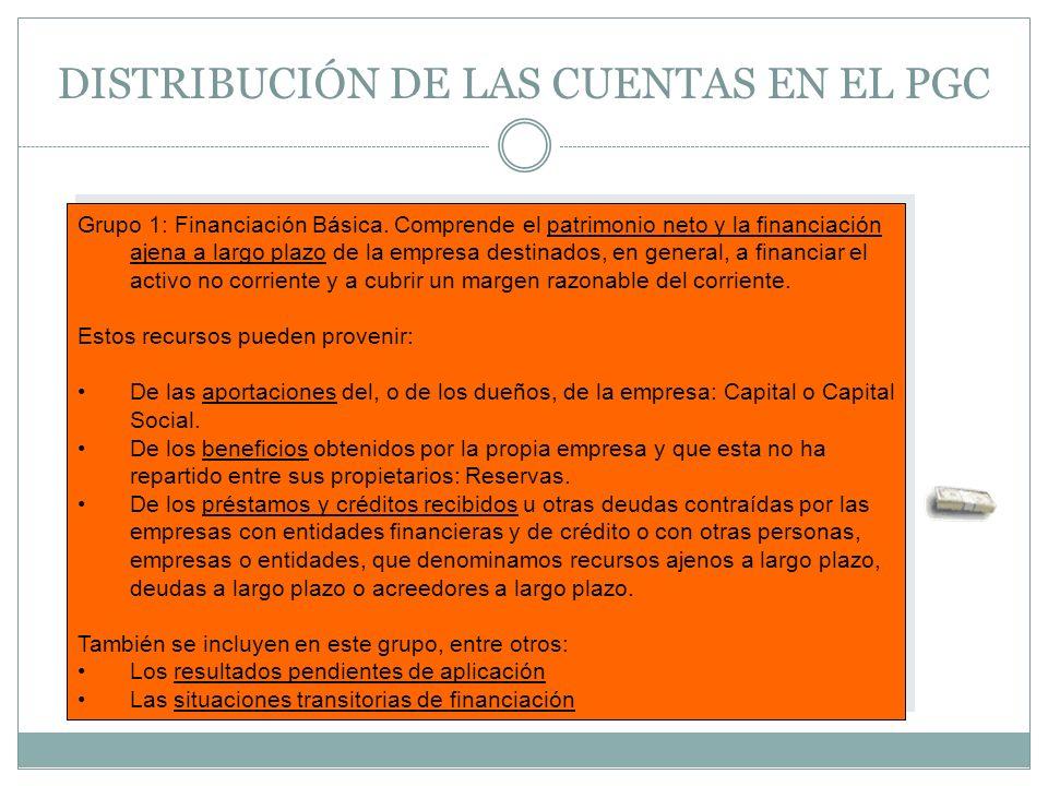 DISTRIBUCIÓN DE LAS CUENTAS EN EL PGC Grupo 1: Financiación Básica. Comprende el patrimonio neto y la financiación ajena a largo plazo de la empresa d