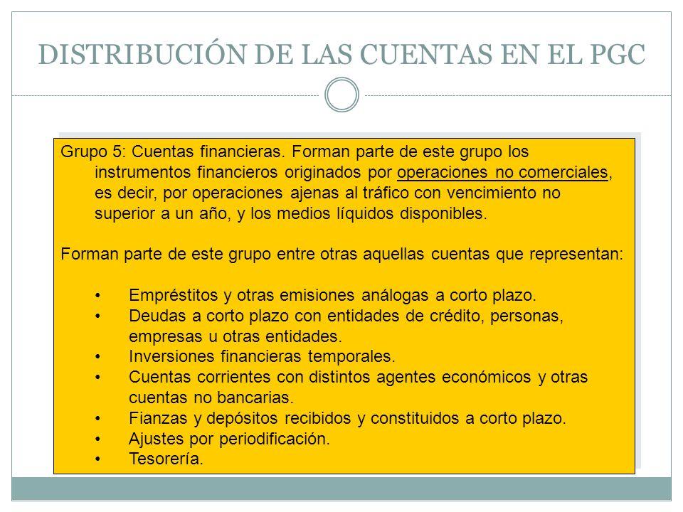 DISTRIBUCIÓN DE LAS CUENTAS EN EL PGC Grupo 5: Cuentas financieras. Forman parte de este grupo los instrumentos financieros originados por operaciones